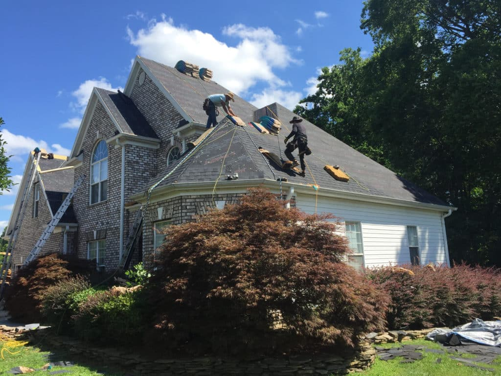 A roof being replaced by our residential roofing contractor in Charlotte, NC