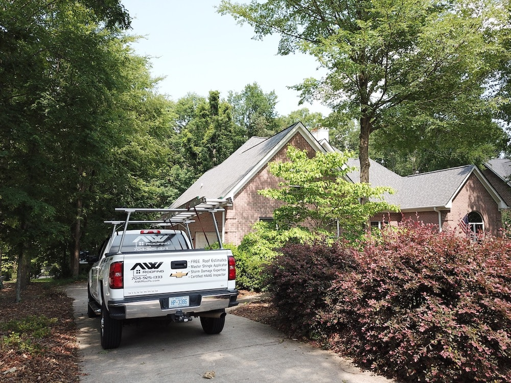 A truck used by our roofing contractor near Clemmons, NC